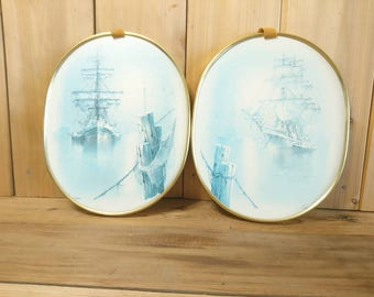 Vintage Pair of Naval Prints Sailing Ships Gold Tone Plastic Frame Wall Hanging Galley Warships Ocean Sea Nautical Handcrafted in Canada