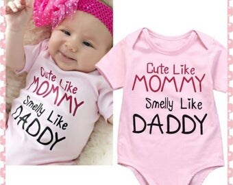 Cute Like Mommy, Smell Like Daddy, Super Cute Onesie for Baby Girl, Cute Shower Gift, Comes With Custom Made Bow