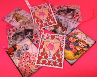 gift tags set of 8 gift labels handmade vintage style kitsch Easter tags Valentines tags Bunny tags Mothers Day tags