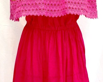Embroidered Double Crocheted Fuchsia Off Shoulders Mexican DRESS Peasant Vintage Fits up XL  Women's 100% cotton Mexican Clothing Sexy!