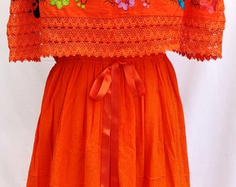 Mexican DRESS Embroidered Crocheted w/ribbon Orange Floral Peasant Vintage Fits up XL Women's 100% cotton Mexican Clothing Sexy  comfy