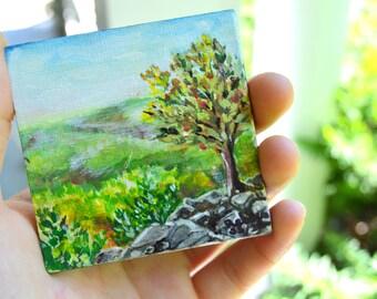Mini Landscape on Easel Cute Desktop Accessories Watercolor Painting Landscape Miniature Painting Mini Easel Painting Landscape Painting