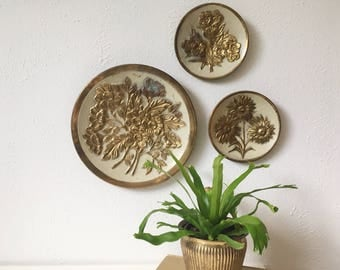 Vintage Brass Wall Plates with Floral Motif + Set of 3 + Made in England + Mid Century Modern + MCM