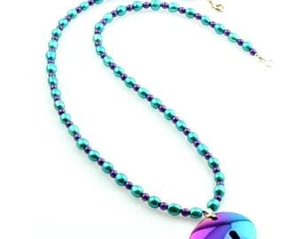 Fresh Water Pearl Necklace with Purple Fire-Polished Glass and a Hematite Bear Pendant