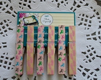 6 wooden clothes peg set, pink footprint and rocking horses pegs, clothespins. House-warming, baby shower, Mother's Day gift set