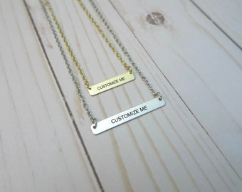 Customized Gold or Silver Bar Necklace - 18 inch Chain / Personalized Jewelry