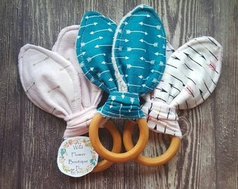 Bunny Ear Wooden Teether / Natural Teething Toy