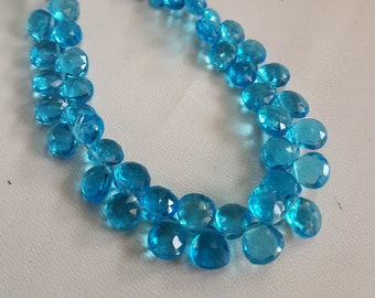 Hydro Quartz faceted Heart shape beads , 6x6 mm to 8.5x9 mm size Heart , 8 inch strand approx