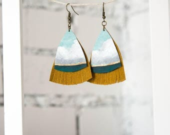 Landscape Earrings in mustard and turqouise