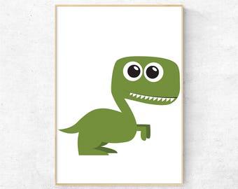 Dinosaur nursery wall art, Kids room print, Nursery wall print, Kids room decor, Nursery animal print, Dinosaur poster, Cartoon animals