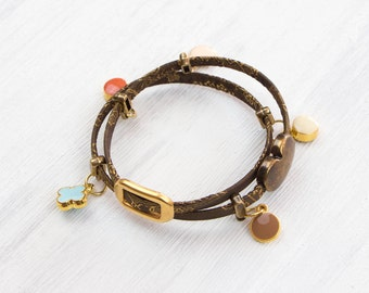Wrap Bracelet Brown/gold, special magnetic lock in the shape of a ring, extravagant, straps, colorful pendant, magnetic closure