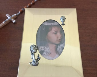First communion photo frame Gold toned Made in USA Original box Vintage photo frame