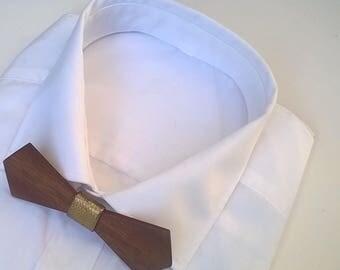GREASE. Nœud papillon en bois d'acajou, revêtu d'un tissu laser doré. Pour Homme. Cadeau pour papa. Garçon d'honneur.