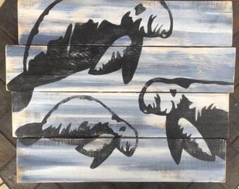 Manatee painting, Manatee art, Marine Conservation art, Beach patio art, Ocean Art, Coastal Decor