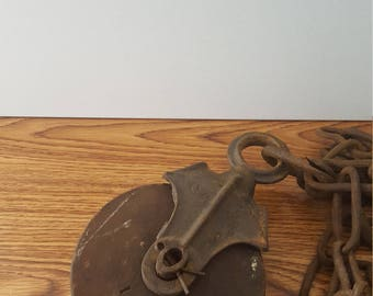 Large Vintage Metal Pulley with Wooden Wheel and Chain