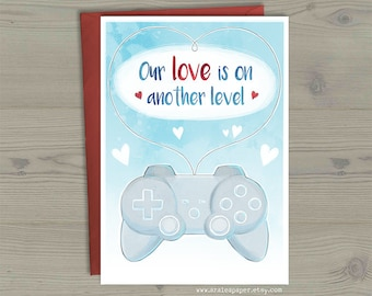 Video Game Controller Valentines Anniversary Nerdy Geek Anime Our Love Another Level Pause Greeting Card