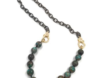 Long chrysocolla necklace with gold CZ diamond clasps,  CZ diamond clasp, chain necklace with diamond clasp