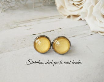 Hypoallergenic studs Wedding gold jewelry Bridesmaid gold studs for friends Gold earrings for her birthday gift Gold shimmer stud earrings
