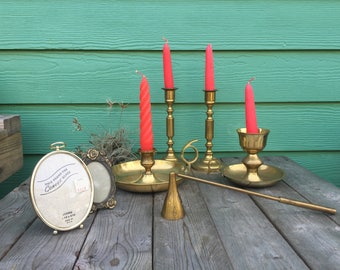 Brass Gold Vintage Candle Snuffer | Mid Century Candle Cap Home Decor