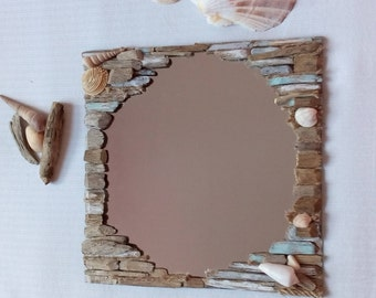 summer decor decorated mirror drift wood woodchips seashells rope brown - Decorated Mirror
