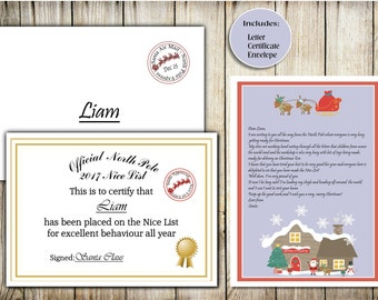 Personalised Letter From Santa Pack - Letter from Father Christmas - Personalised Santa Letter -Nice List Certificate - North Pole Letter