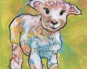 Baby lamb art, fine art print, lamb painting, farm animal art, nursery decor, child art, baby gift, baby pig in mud, lamb print, farm art