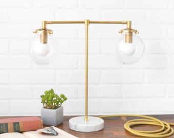 Globe Table Lamp   Desk Lights   Brass Table Lamps   Modern Room Lighting    Mid