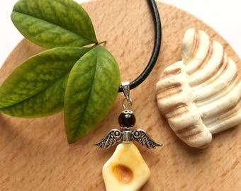 Chistening gift amber Teething pendant amber necklace. Teething amber angel pendant amber necklaces toddler amber for kids