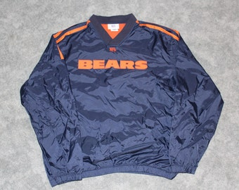 Vintage 90s 2000s NFL Chicago Bears Football Mens Size Medium or Oversized Womens Embroidered Logo Long Sleeve Pullover Windbreaker Jacket