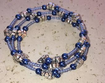 Blue & Silver Memory Wire Bracelet