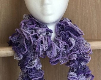 Chenille Trimmed Frill Scarf /Lavender purple knit ruffle scarf /