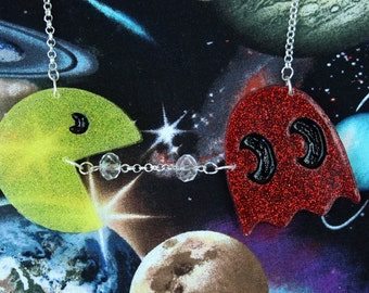 Large Pacman Glitter Resin Necklace with Crystal Beads