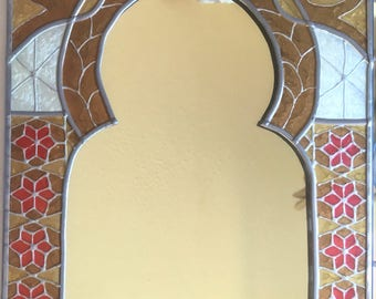 Handmade Stained Glass Moroccan Arch Mirror