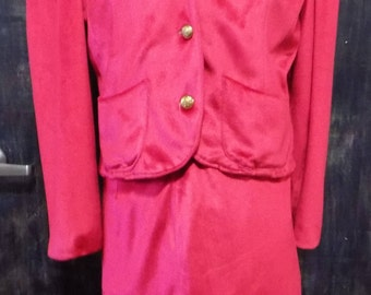 Vintage Fuchsia Jacket and Skirt Set