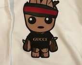 Kid's Baby Groot Gucci Shirt  / Toddler Groot Gucci Green Red Striped Shirt  / Baby Groot Gucci Onesie / Children Gucci Tee / Gucci Onesie