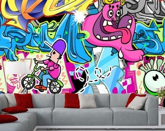 Removable Wallpaper Mural Peel & Stick Street Art Graffiti Wallpaper Self Adhesive Wallpaper