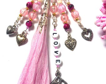 Keychain Hearts - Pink Keychain -  Pink Tassel - Gift for Her - Gift for Women - Keyring - Trinket - Love - Car / Bicycle Keychain