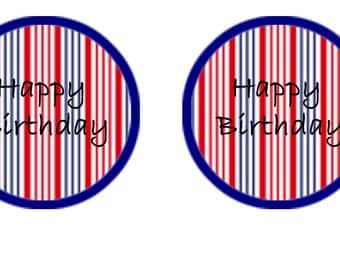 Nautical striped Cupcake Toppers - Happy Birthday Message x 12 . INSTANT DOWNLOAD.