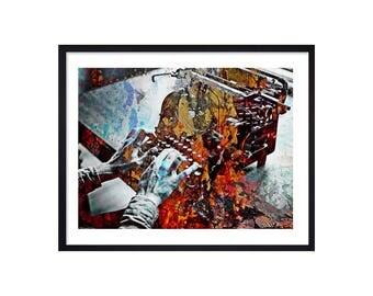 Novelist Art Print - Journalist Print - Typewriter Poster - Writer Wall Art - Typewriting Digital Painting