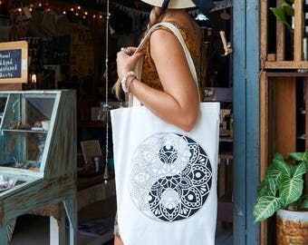 Tote-Bag Mandala Yin Yang / White Black Brown Red / Yoga bag / Zen Gift / Shopping bag / Gift for her