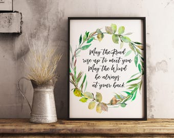 Irish Blessing Printable May the road rise up to meet you green wreath quote print Irish prayer St. Patrick's day blessing shamrock decor
