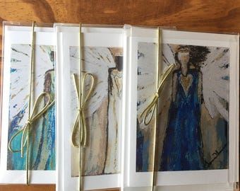 Christian Greeting Card- set of 3-Faith Hope Love Angels- Handmade Cards-Blank Greeting Card-Inspirational Greeting Cards with Envelopes