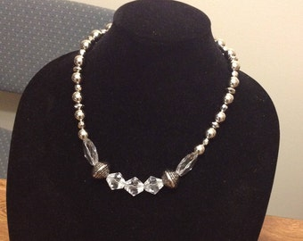 Geometric Crystal and Silver Beaded Princess Length Necklace