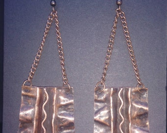 Patinated copper fold-formed earrings