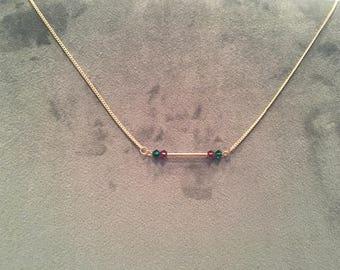 Swarovski purple and green stone necklace