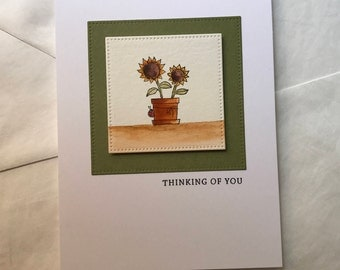 Watercolor Thinking of You Sunflower and Ladybug Handmade Greeting Card
