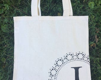 Personalized Tote Bag / Tote Bag with Initial / Cotton Eco Friendly Bag / Reusable Grocery Bag / Lunch Bag / School Bag / 100% Cotton