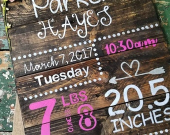 custom birth announcement wooden sign, custom baby sign, new baby gift, birth stat sign, birth announcement sign, wall decor