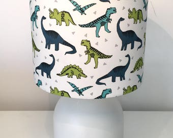 Dinosaur lampshade etsy dinosaurs green blue fabric lampshade kids bedroom and nursery fabric lampshade handmade in western australia mozeypictures Gallery