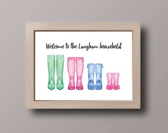 Personalised Welcome Wellies Welly Boots Family Names Print, Home Wall Art, Gift, A4, 8x10inch or A5, Quality PaperA3
